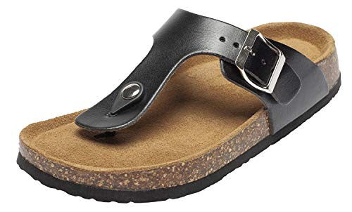 Fashion Leather Thong Cork Sandals for Women Casual Cork Flat Sandals Anti-Skid for Summer Beach Black US - Fashion Leather Sandal