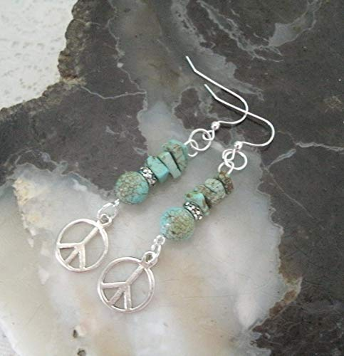 Turquoise Peace Sign Earrings, handmade jewelry boho hippie bohemian gypsy new age hipster