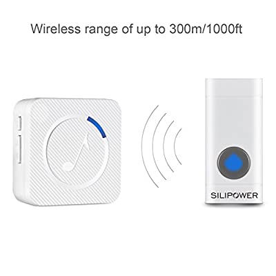 Silipower Doorbell, Wireless Doorbell Ring Chime Operating over 1000 feet, 1 Waterproof Remote Push Button & 1 Plugin Receiver with LED Indicator, for Home/Office