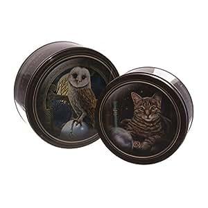 Juego de 2 cajas de Circular - diseño de búho y gato diseño de magia