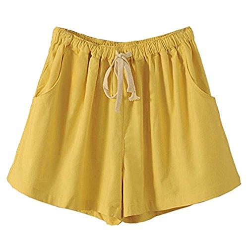 電池カブどこでもレディーズ ショットパンツ 紐付き 夏 涼しい パンツ ゆったり綿麻 無地 シンプル 着痩せ ゴムウエスト ズボン 大人 学生 ハーフパンツ