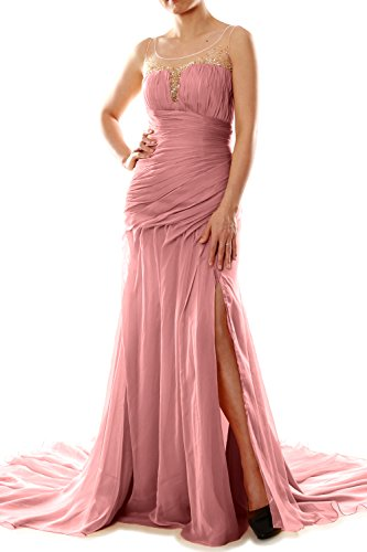 MACloth Women Mermaid Chiffon Long Prom Dress Formal Evening Party Ball Gown Blush Pink