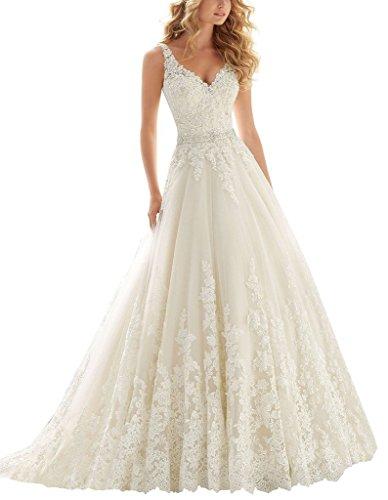 Women's V-Neck Lace Applique Empire Chapel Wedding Dress Bride Gowns