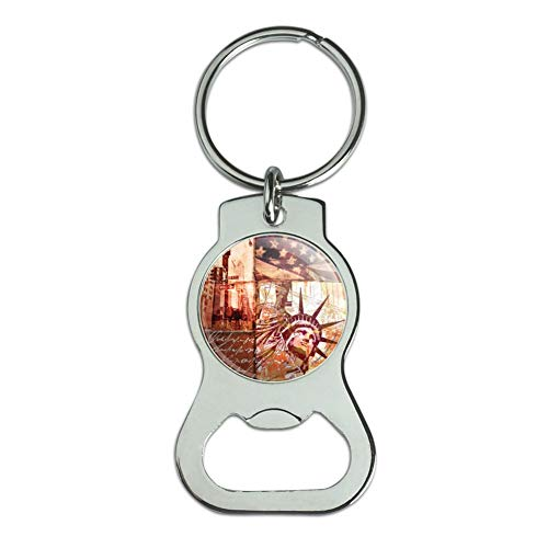 Graphics and More New York City Statue Liberty Tile Collage Bottle Cap Opener Keychain Key Ring