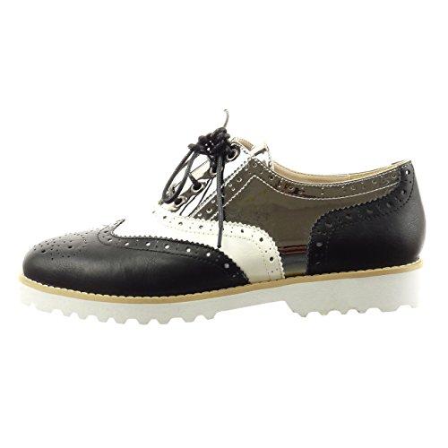 Sopily - Scarpe da Moda scarpa derby zeppe alla caviglia donna perforato lucide Tacco a blocco 2.5 CM - Nero