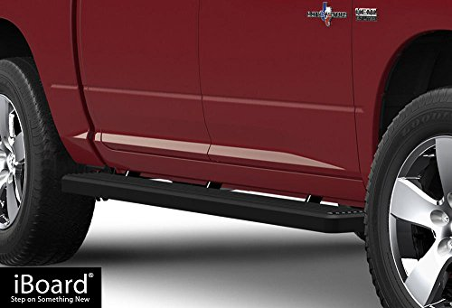 iBoard Running Boards (Nerf Bars | Side Steps | Step Bars) For 2009-2018 Ram 1500 Crew Cab Pickup 4Dr & 2010-2018 Ram 2500/3500 | (Black Powder Coated 4 inches) (2500 Ram 2015 Boards Running)