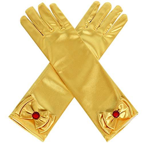 (Qunan Girls Long Satin Yellow Gloves Diamonds Bows Belle Princess Dress Up for Girls)