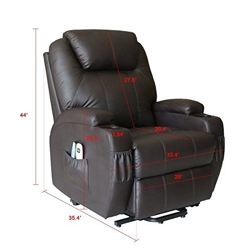 Massage Chair Power Lift Recliner Wall Hugger PU Leather heated Vibration with Wheels 2 Controls (Coffee)