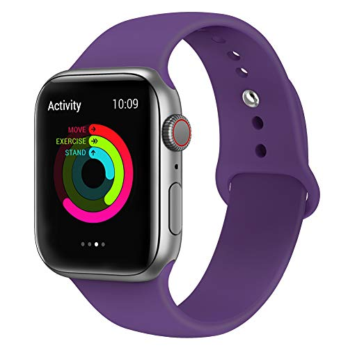 AdMaster Compatible for Silicone Apple Watch Band and Replacement for Sport iwatch Accessories Bands Series 4 3 2 1 Night Purple 42mm/44mm M/L