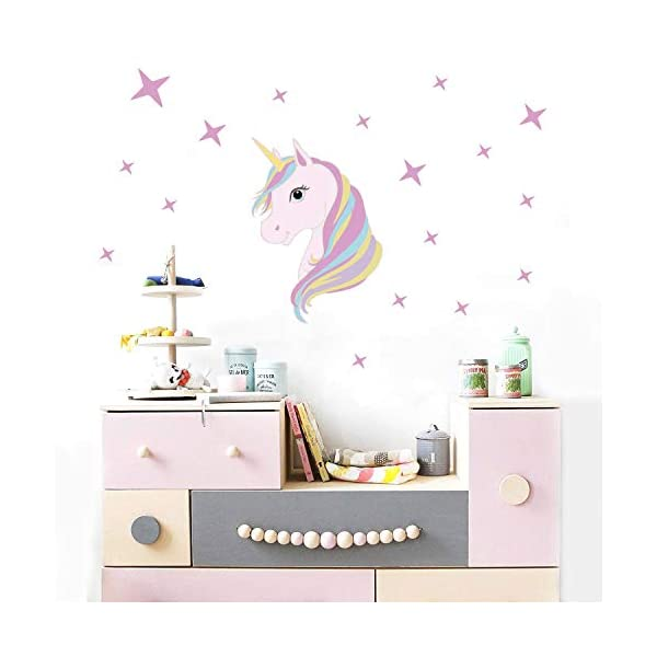 KUYUE Wall Decals Removable Unicorn Wall Stickers for Girls Decorations Bedroom Living Room Playroom Classroom 4