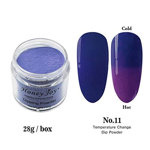 28g/Box Dark Blue and Purple Temperature Color Change Dip Powder Nails Dipping Nails Long-lasting Nails No UV Light Needed, (W-No.11)