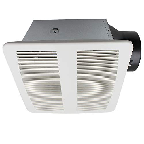 ESD Tech Quiet Bathroom Exhaust Fan with Adjustable Humidity Sensor & Timer 0.4 Sones, 90 CFM, White Grill, 6-Inch Duct with 4-Inch Adapter, Energy Star, ETL Listed
