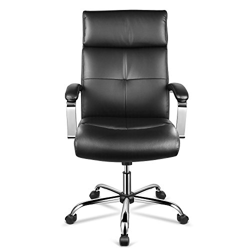 Leather Seat Ergonomic Chair - INTEY High-Back Office Chair Ergonomic&Executive Office/Home Chair with PU Leather Surface, Padded Armrests and Adjustable Seat Lift. Black