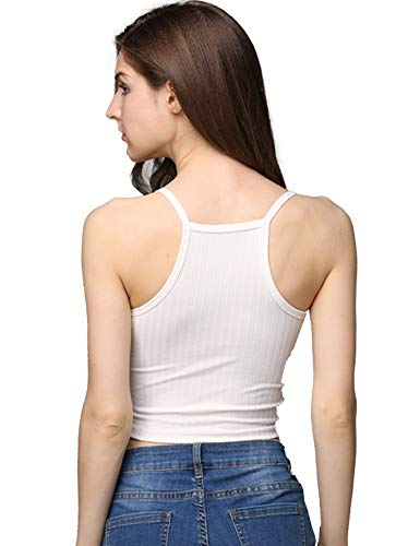 - cunlin Crop Tops for Women Summer Camisole Sleeveless Ribbed Knit Racerback Cami Tank Top White L