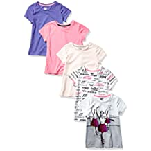 Amazon Brand - Spotted Zebra Girl's Toddler & Kids 5-Pack Short-Sleeve T-Shirts