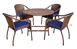 Jeco 5 Piece Wicker Table Dining Set in Blue