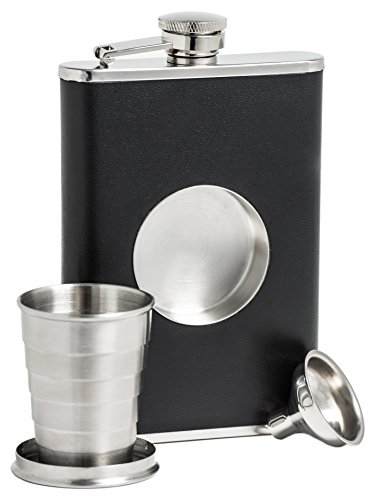 Shot Flask - Stainless Steel 8 oz Hip Flask, Built-in Collapsible 2 Oz. Shot Glass & Flask Funnel - Everything You Need to Pour Shots on the Go - BarMe Brand ()