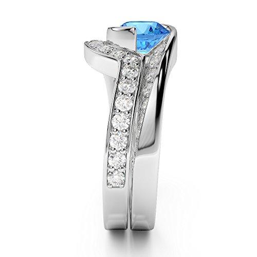G-H/VS 1CT Coupe ronde sertie de diamants Topaze bleue et diamants blancs et bague de fiançailles en platine 950Agdr-2019