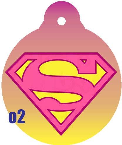 O2 Circle Team JLA Batman Superman Wonder Woman Lantern Comic Art Design Custom Logo Dog Pet Cat ID Tag Round Shape Personalized Key Ring (Supergirl)