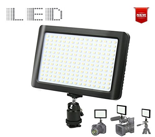 192 LED Photo Video Light for DSLR Camera and Camcorder. Ultra Slim & Bright, Dimmable Studio Video Light Panel w/Camera Mount for SONY Canon Nikon Pentax Panasonic Samsung Digital SLR (192LED) by Casewarehouse