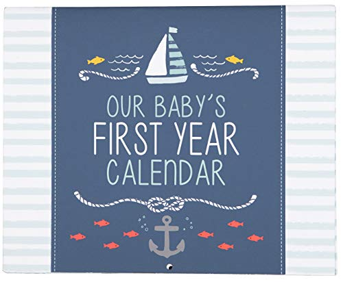 C.R. Gibson Blue Nautical ''Our Baby's First Year'' Baby Calendar for Newborn Boy Memory Book with Stickers, 11'' L x 18'' H A Babys First Year Calendar