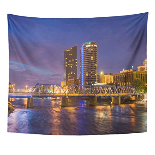 Semtomn Tapestry Artwork Wall Hanging Blue Amway Skyline at Dusk Grand Architecture Bridge Building 60x80 Inches Tapestries Mattress Tablecloth Curtain Home Decor Print -