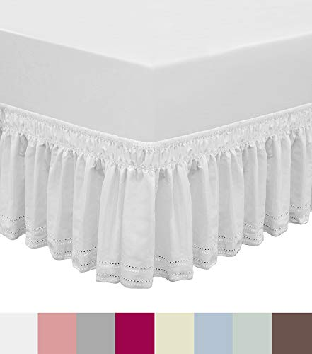 QSY Home Wrap Around Elastic Eyelet Bed Skirts Dust Ruffle Three Fabric Sides Easy On/Easy Off Adjustable Polyester Cotton 14 1/2 Inches Drop(White Queen/King)