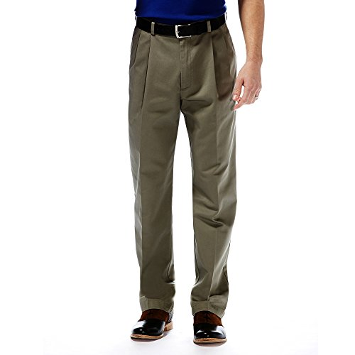 Haggar Mens Work to Weekend Pleated Front Khaki, Olive, 29-30 - Weekend Cotton Pleated Pants