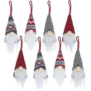Best Epic Trends 41ojN66TwtL._SS300_ Gnomes Christmas Tree Ornaments Set of 8, Christmas Ornaments 2020 Handmade Plush Gnomes Santa Elf Hanging Home…
