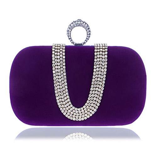 Capacité main À Sacs Blue Tout Clutch Main QZTG Women's Purple Black sac Buttons Polyester Fourre Grande De Violet à Bags Unx1CpAwqE