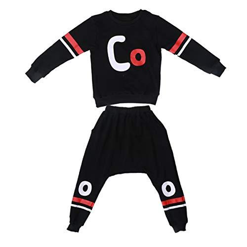 Boys Cotton 2PCS Clothing Sets Kids Long Sleeve Top Pant Set (12-13 Years/Tag 160, Black T-Shirt + Black Pant) by Haoguagua (Image #2)