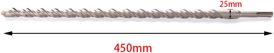 Asdomo SDS Plus 25 mm, punta de carburo de tungsteno, 450 mm Broca para mamposter/ía