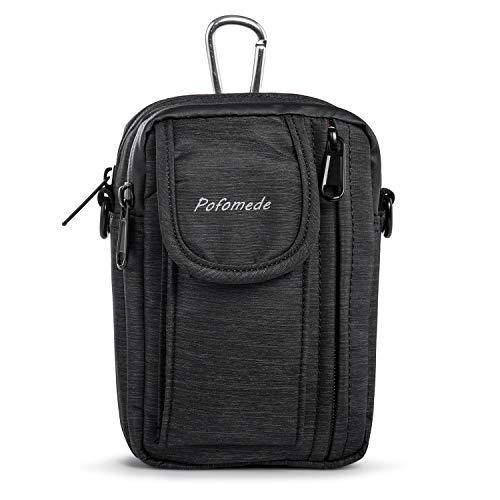 Flip Vertical Pouch - Guzilan Vertical Cellphone Belt Pouch Shoulder Bag,Flip Phone Nylon Holster Belt Clip Case Mens Neck Purse for Iphone Xs Max XS 7 8 Plus Belt Bag Holder Galaxy S8/S9 Plus Black