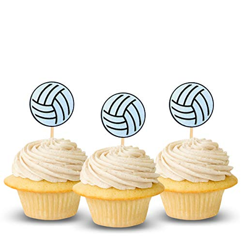 Volleyball Cup Cake Topper Decoration Glitter Card Stock Color Black and White, 12 PC