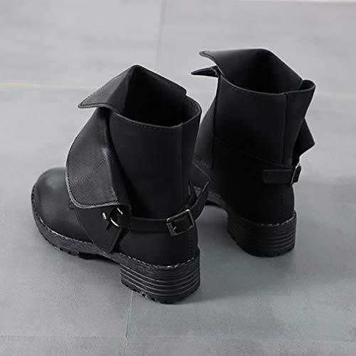 Blocco Blocco per con Tacco Tacco Tacco Autunno Comoda e a Nero Boots Stivale Rotonda Antiscivolo per Retro Scarpe in Stivaletti Donna Patchwork Inverno Suola Sintetica Moda Pelle 1 WFEYwqAA