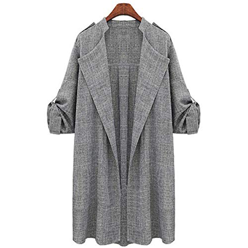 Andongnywell Women's Open Front Cardigan Lapel Trench Roll Up Sleeve Casual Waterfall Jackets Coat Outerwear Overcoat (Gray,XXXX-Large)