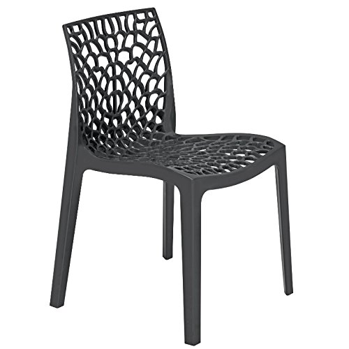 Dark Grey Polypropylene Chair - Reinforced Plastic Chair for Inside and Outside - Seat for Commercial and home use BrackenStyle