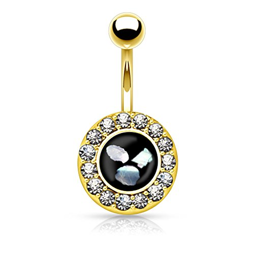Round Crystal Paved Simulated Pearl Inlaid Center Belly Button Ring 316L 14g Navel Ring (Gold (Pearl Button Center)