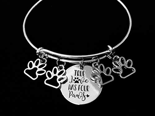 True Love Has Four Paws Jewelry Paw Print Expandable Charm Bracelet Adjustable Silver Wire Bangle Dog Cat Pet Animal Lover One Size Fits All Gift Custom and Personalization Options Available ()