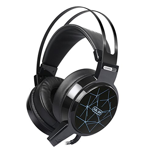 Gaming Headset, Hizek 3.5mm Stereo Wired Gaming Headphones for PS4, PC, Xbox One Noise Cancelling Over Ear Headphones with Mic Volume Control, LED Light, Bass Surround(Black)