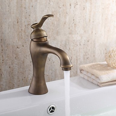 HFaucet® Personalized Bathroom Sink tap in Antique style Bathroom Sink tap with Centerset Antique Brass finish , Arial