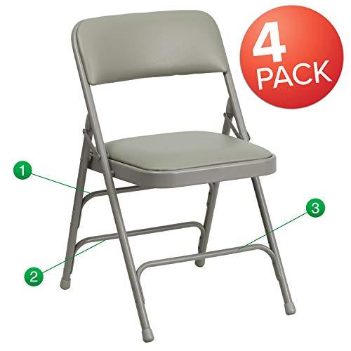 Flash Furniture 4 Pk. HERCULES Series Curved Triple Braced & Double Hinged Gray Vinyl Fabric Metal Folding Chair ()