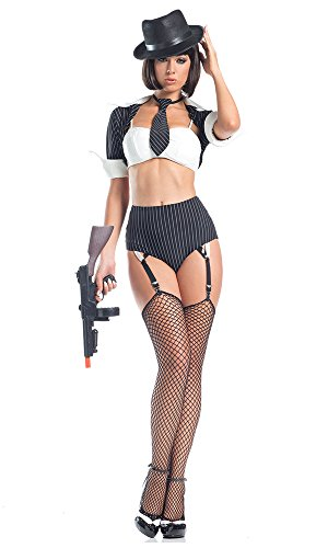 Be Wicked Women's 5 Piece Jazzy Gangster, Black, Medium/Large (Gangster Woman)
