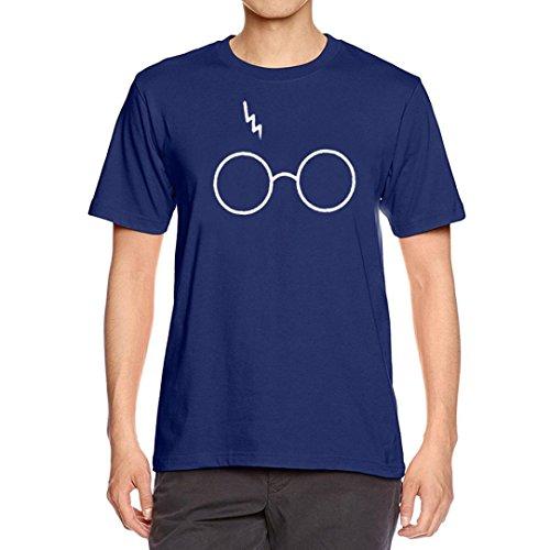 (GREFER Men's Boys Cute Pattern Printing O-Neck Tees Shirt Short Sleeve T Shirt Blouse (S, Navy))