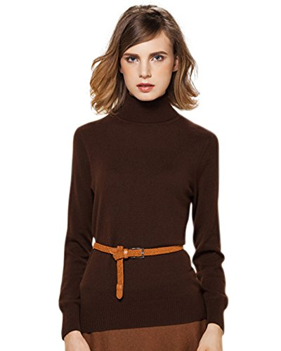 Cashmere Slouchy Turtleneck Sweater M Brown (Cashmere Petite Turtleneck)