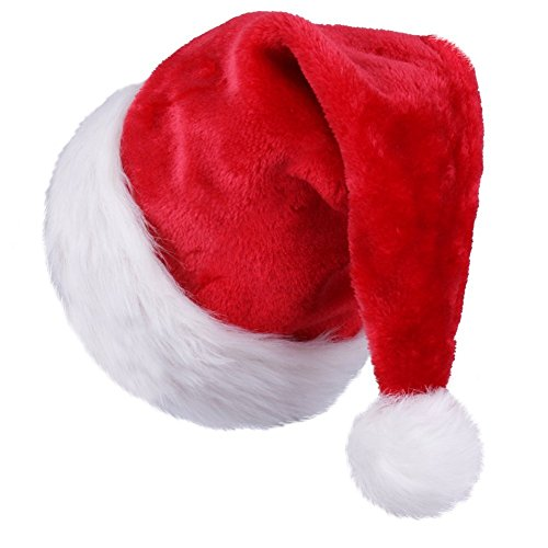 Price comparison product image Extra Thicken Red and White Plush Santa Hat-Christmas Classic Hat for Adult (Red & White)