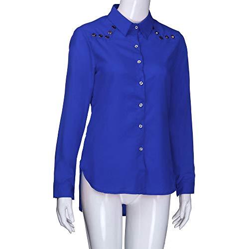 Sweat Pull Top Blouse Tops Bleu V Unie Longues femme col lache Longues Haut Chemise v sexy Manches boutonne Shirt Manches Femme LANSKIRT Couleur Cou tFdfnt