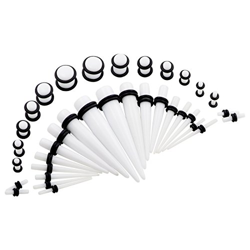 Double O-rings (Qmcandy 36pcs 14G-00G(1.6mm-10mm) Acrylic Tapers Stretching Kit & Colorful Plugs with Double O-Rings Ear Stretcher Set StyleB)