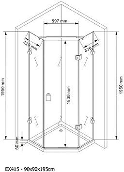 Cabina de ducha Pentágono ducha Nano EchtGlas EX415 – 90 x 90 x ...