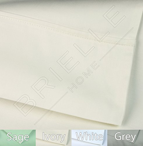 - Brielle 400 Thread Count Egyptian Cotton Sateen Fine Sheet Set, Queen, Ivory